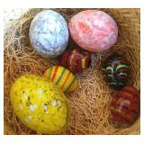 Glass & Marble Eggs In Woven  Basket