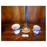 Dresden Candlestick & Marked Face Mugs