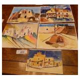 Collection Of Taos Pueblo Watercolors 8x10s