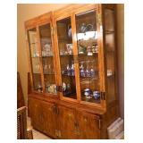 "2 Piece Oak Lighted China Cabinet 82""x64"""