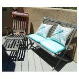 Vtg Folding Wood Steamer Deck Chair & Love Seat