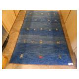 "36""x60 Blue Southwestern Woven Wool Rug"