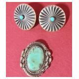 Vtg Native  Sterling Silver Earrings & Pin Signed