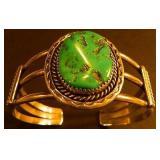 Vtg Navajo Sterling/Chunky Nugget Bracelet Signed