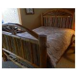 Rustic Wood Queen Size Bed W/ Copper Accents