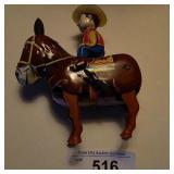 Vtg Wind-Up Japanese Tin Cowboy Works