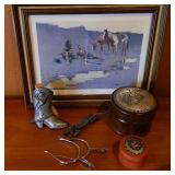 Decorative Southwestern Items Cast Iron Boot Etc..