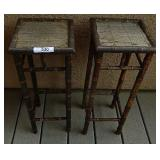 2 Small Bamboo Style Plant Stands