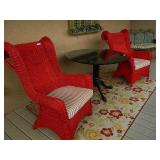 Red Wicker Curved Back Chairs