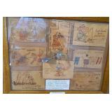 """Vtg Framed Leather Postcards 15""""x19"""" 1900s"""
