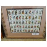 """50 State Bird Stamps Framed Matted 14.5""""x12.5"""""""