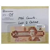 1986 Canada Last Year $2 Banknote