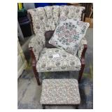 Wing Chair w/Ottoman Floral Print Fabric