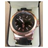 US Polo Sport Black Strap Rosegold Plating Watch