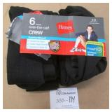 6 Pairs Hanes Over The Calf Crew Socks Size 6-12