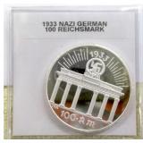 1933 Nazi German Silver Plated 100 Reichsmark