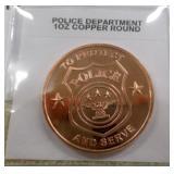 Police Dept 1oz Copper Round
