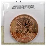 Fire Dept 1oz Copper Round