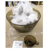 18 Pc Smokey Glass Punch Bowl Set