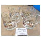 4 Clear Glass Western Theme Mugs