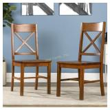 Set of 2 Wood Dining Chairs, Antique Brown