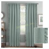 Vertical Ruffle Window Curtain Panel, Aqua