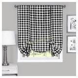 Window Curtain Tie Up Shade 42x63, Black