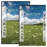 24x36 Poster and Picture Frame, Black, Set of 2