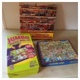 Lionel Train & Cleveland Puzzle W/ Jumbo Roll Up