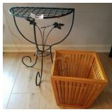 Wrought Iron Plant Stand & Wood Bamboo Style Waste