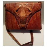 Alligator Skin Purse Handbag W/ Head & Arms Taxide
