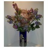 Aluminum & Cobalt Blue Glass Vase