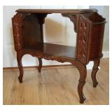 Solid Wood Carved Side Table W/ Storage
