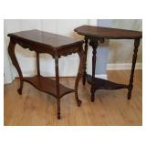 Pair Of Wood End Tables, Half Moon & Rectangle