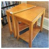 Pair Of Solid Oak Home Theater End Tables