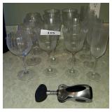 Crystal Wine Glass Lot & Bottle Opener