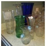 Large Lot Of Vase; Etched Glass, Cobalt Blue