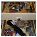 2 Drawers; Heavy Flashlight, Utensils & More