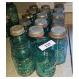 18 Antique 16Oz Blue Mason Jars W/ Zink Lids