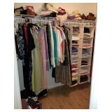Closet: Clothes, Purses, Wood Storage Shelf