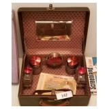 Vintage Vanity Travel Kit In Hard Leather Case