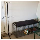 Metal Wire Padded Storage Bench & Rack