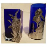 Pair Of Cobalt Blue Glass & Aluminum Vases
