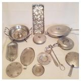 Large Wrought Aluminum Lot; Nut Bowl & More
