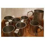 Buenilum Hand Wrought Pitcher & 6 Mugs