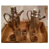 Pair Of Decanters & Glasses W/ Metal Base