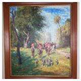 Fox Hunt Original Signed Oil Painting On Canvas