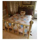Full Size Brass Tone Bed, No Mattress Included