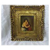 Ornate Framed Painting On Wood By Lebrun