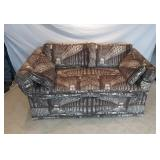 Custom Gothic Columned Buildings Fabric Love Seat